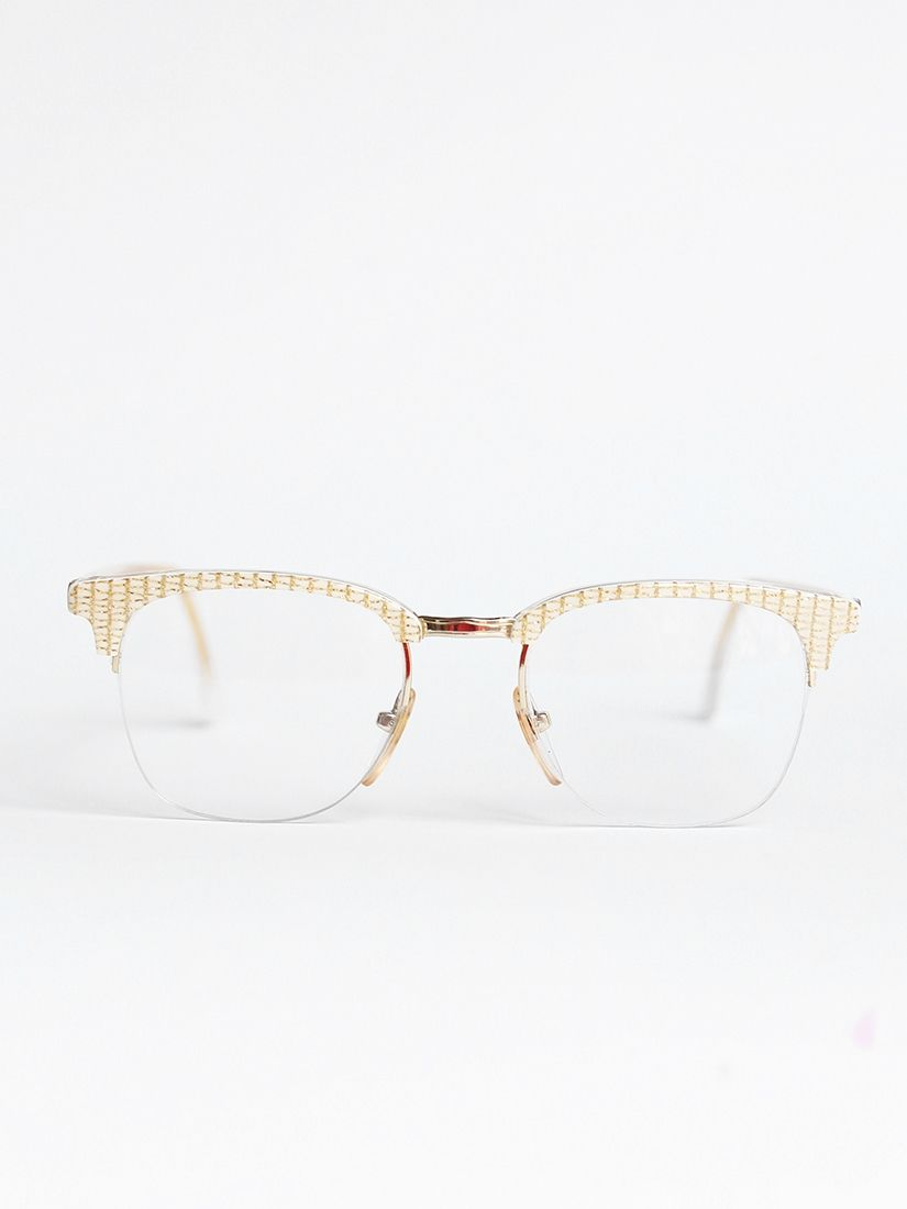 8762507bc6fb64 French Vintage Lunetier Lunettes de vue monture blanche et dorée ...