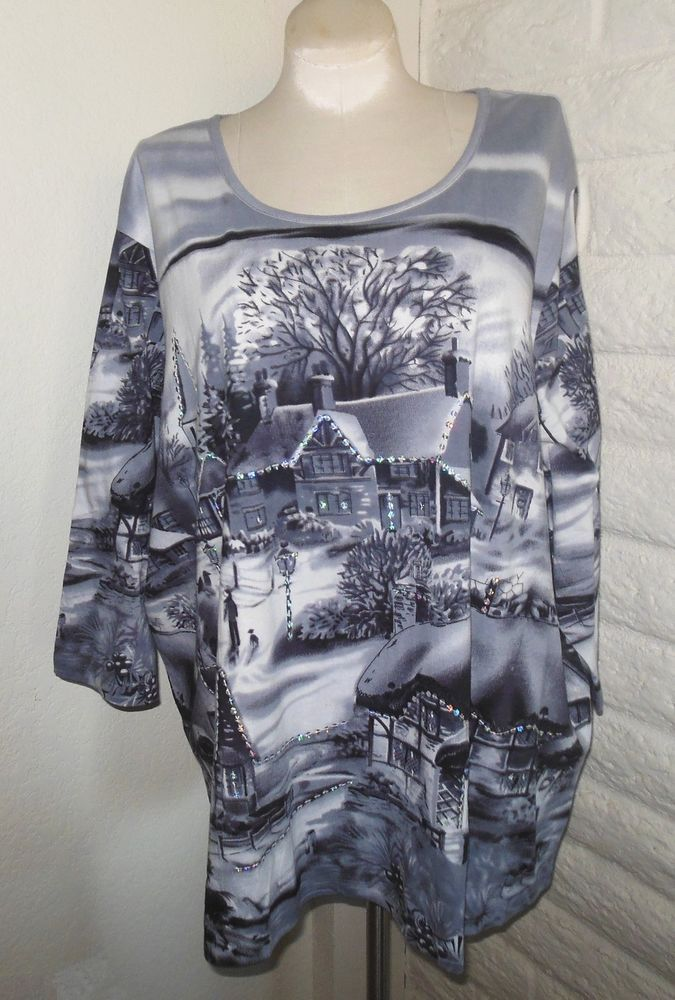 e7fc4500ea5 NEW Catherines 5X Gray White Christmas Winter Cottages Sparkly Tunic Top  Plus…
