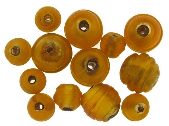 Vintage Italian Venetian Matte Frosted Fancy Gold Foil Art Glass Textured Beads
