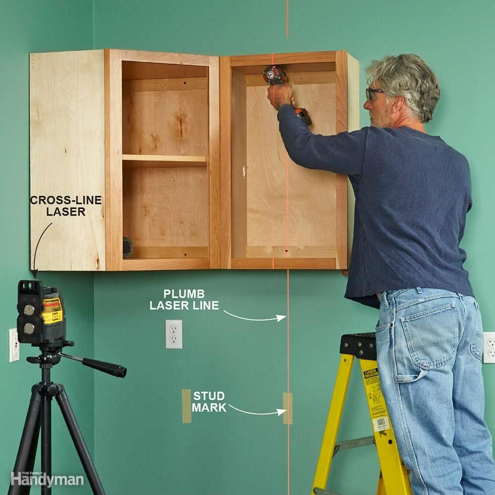 How To Use A Laser Level Remodeling Tools Diy Home Repair Installing Cabinets