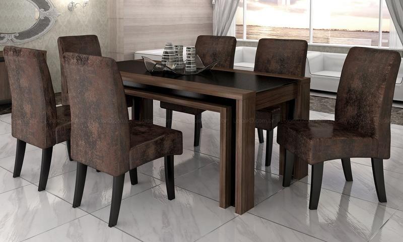 Mesas Sala De Jantar Ikea ~ sala de jantar com mesa e 6 Cadeiras Beatriz Ébano  Cimol  Mesas