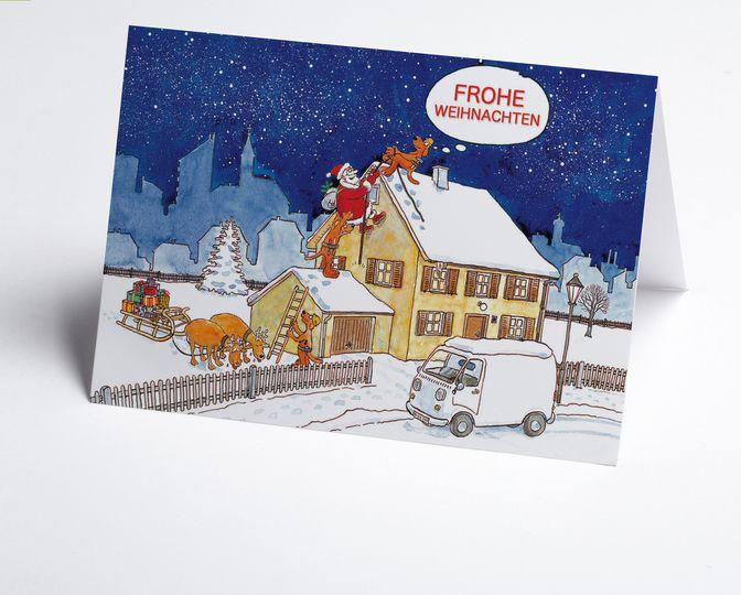 branchen weihnachtskarte zum hausbau mit weihnachtsmann. Black Bedroom Furniture Sets. Home Design Ideas