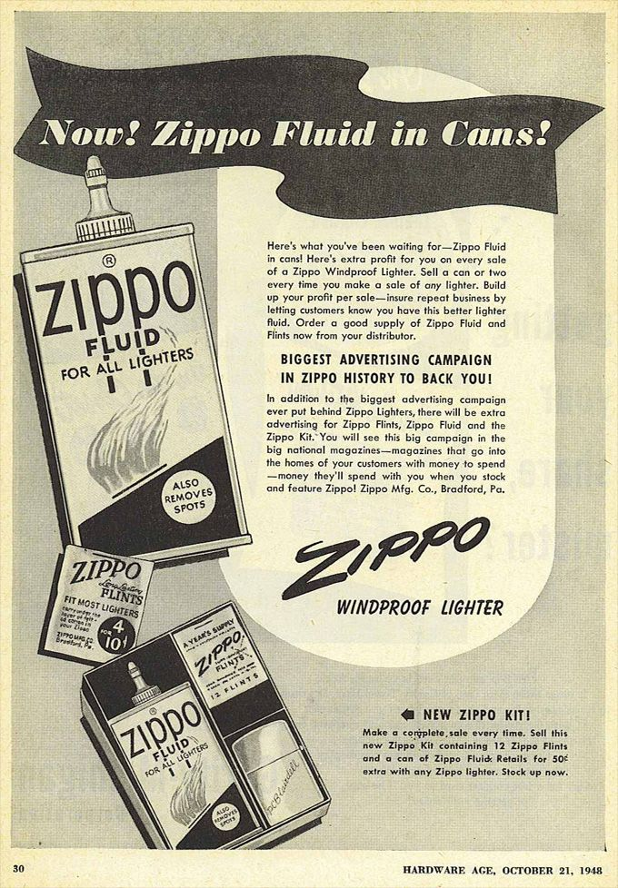 Vintage Zippo Fuel Can Advertisement From 1948 Zippo Fluid Zippo Vintage Ads