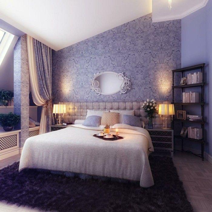ideen für wandgestaltung schlafzimmer dekorieren tapeten lila - idee fur schlafzimmer einrichtungen