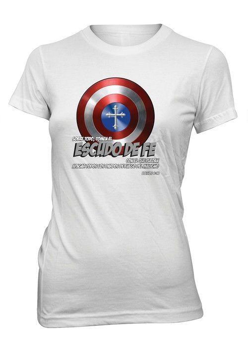 fba9ad5e Escudo de Fe Heroe America Comics Camiseta Cristiana Talla Juvenil ...