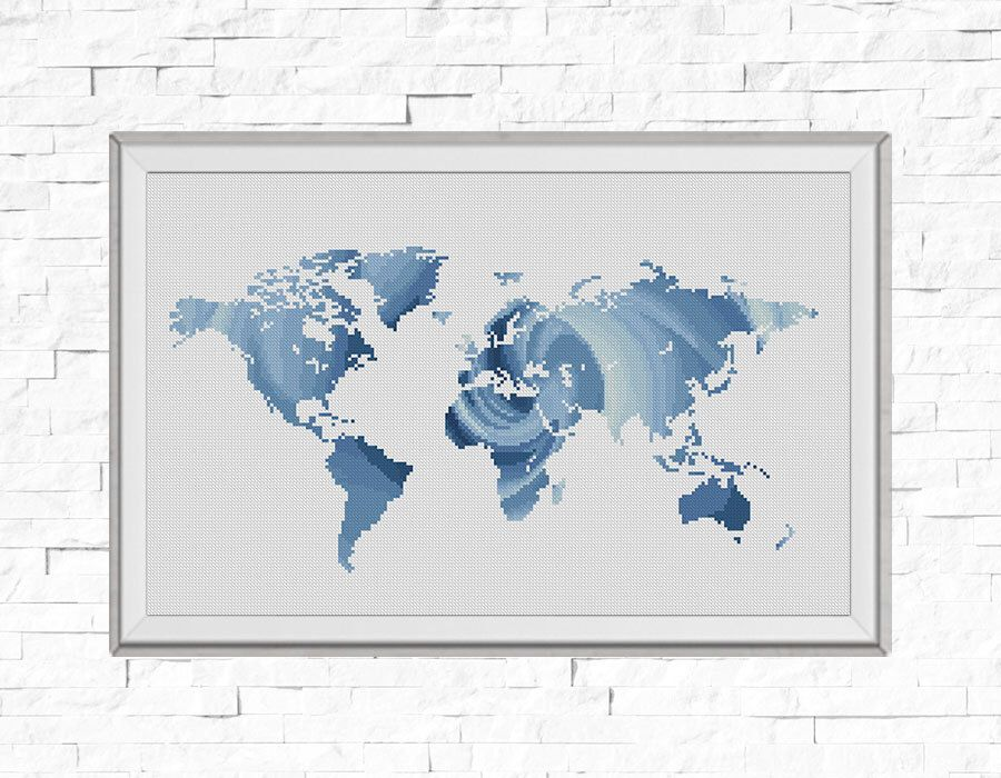 BOGO FREE Map Cross Stitch Pattern World Map Silhouette Rose