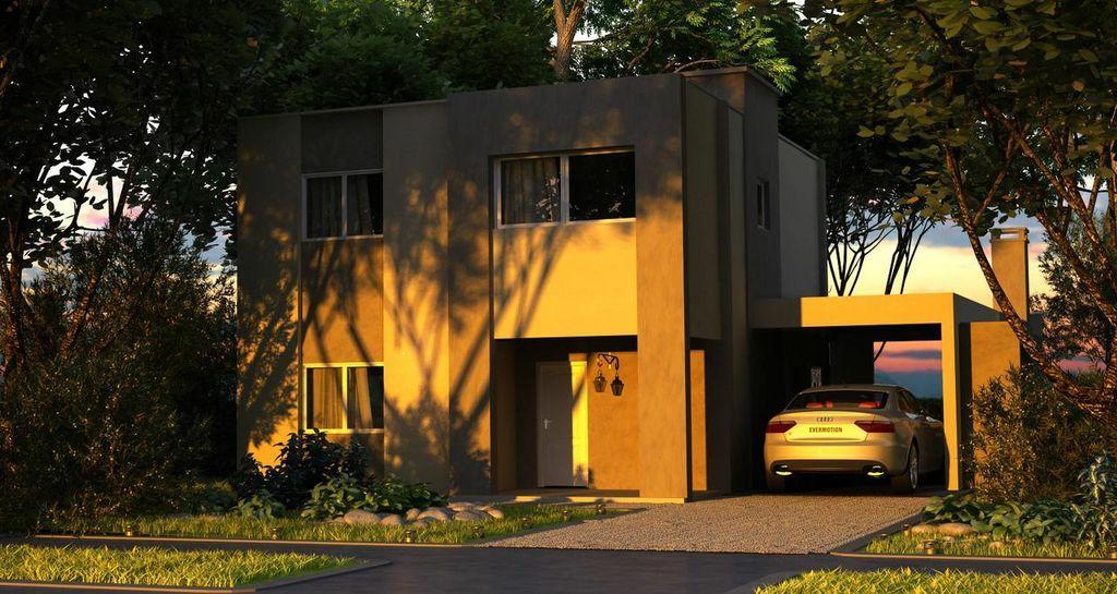 Fachada con garaje abierto