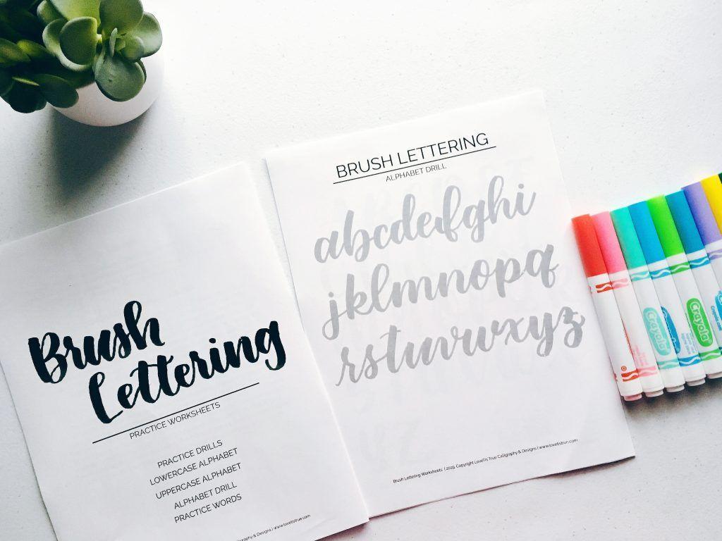 Brush Lettering Practice Worksheets