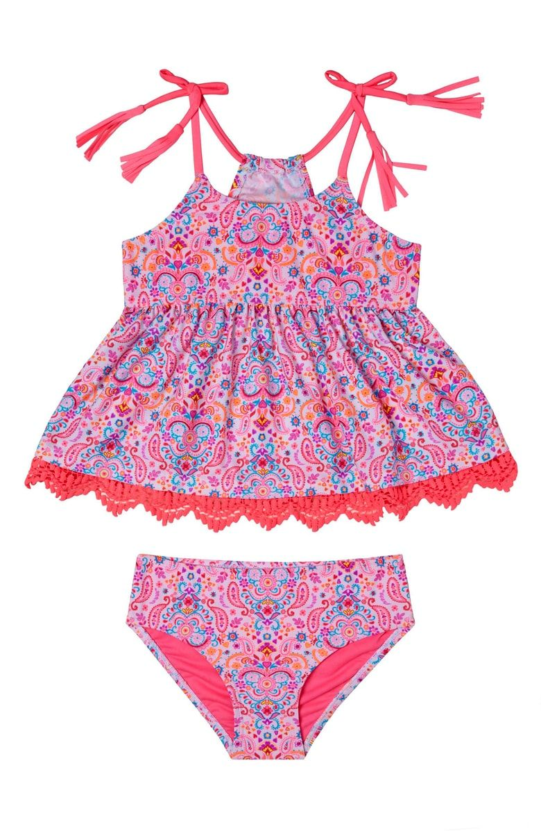 33b2b4935116c Hula Star Hearts Galore One-Piece Rashguard Swimsuit (Toddler Girls &  Little Girls)   {Baby Girl}   One piece, Rash guard, Kids swimwear