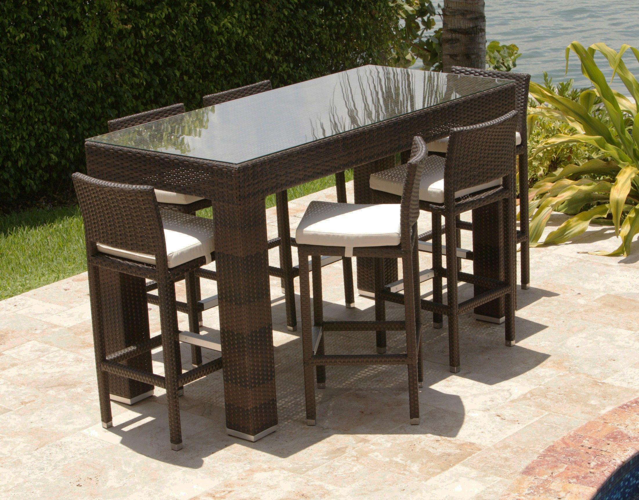 Mobel Outdoor Wicker Esstisch Set Mit Hoher Barhocker Platziert Auf Granit Gefliesten Boden Kombiniert Mit Gru Gartenmobel Sets Terrassentisch Terrassen Stuhle