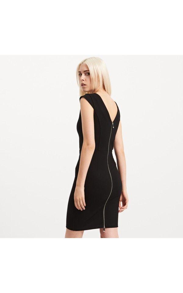 Dopasowana sukienka z zamkiem, POLECANE, czarny, RESERVED