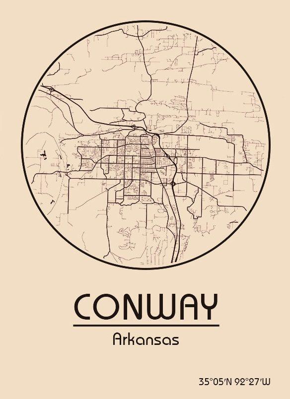 Karte / Map ~ Conway, Arkansas - Vereinigte Staaten von ...