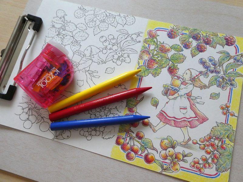 完成 クーピーで3色塗りしてみました 人物編 森の少女の物語より 塗り絵日記 物語 塗り絵 森