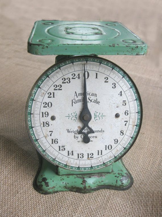 Green Vintage Kitchen Scale With