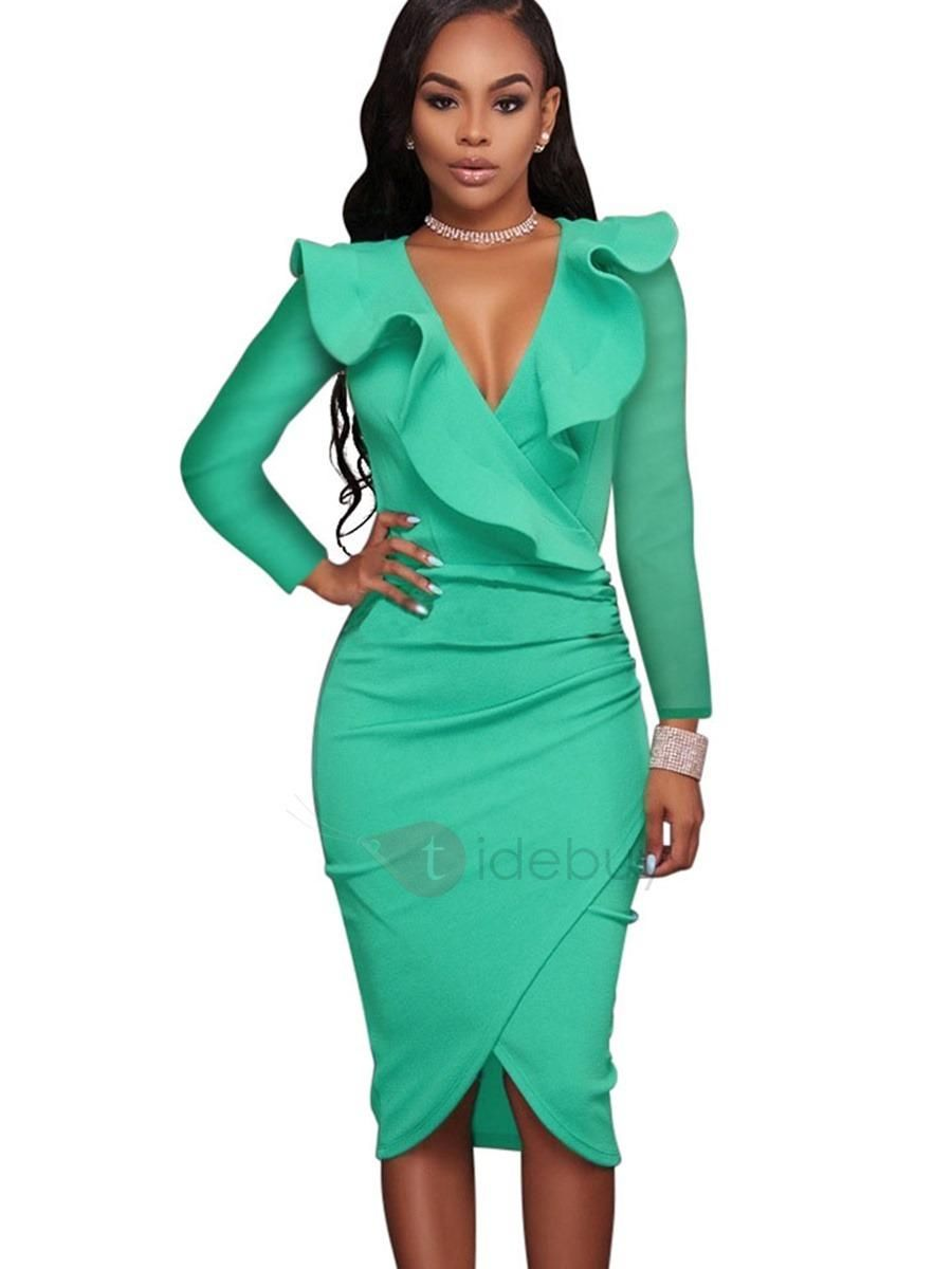 TideBuy - #TideBuy Vogue Multi-colored Long Sleeve Womens Bodycon ...