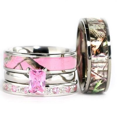 His Hers Camo Pink Radiant Stainless Steel Sterling Silver Wedding Ring 4pc Set