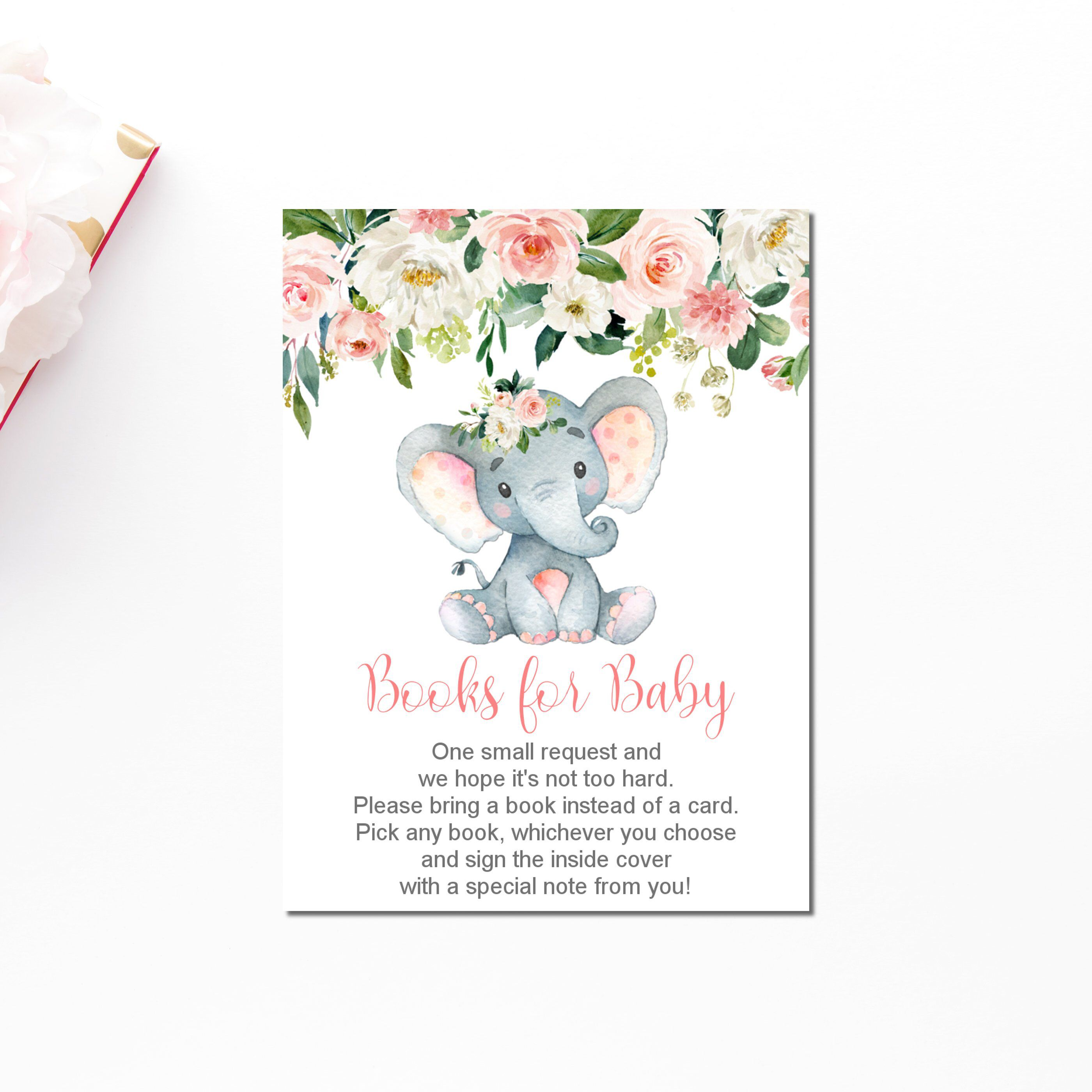 Books for baby elephant baby shower please bring a book