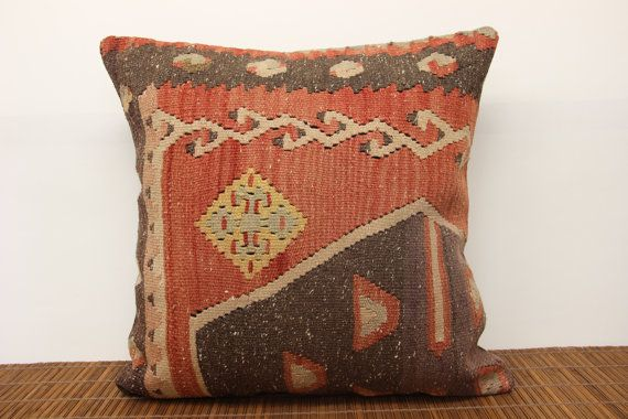 Anatolian pillow kilim cover 20 x 20 Decorative by kilimwarehouse, $66.00