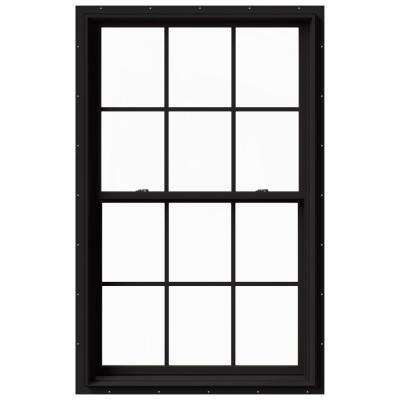 Jeld Wen 37 375 In X 60 In W 2500 Series Black Painted Clad Wood Double Hung Window W Natural Interior And Screen Thdjw177200532 The Home Depot In 2020 Double Hung Windows Clad Wood Double Hung