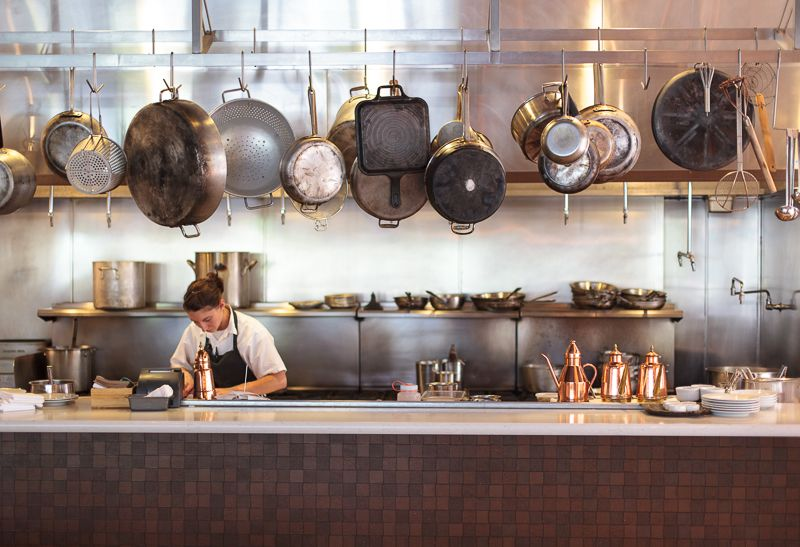 the expansive open kitchen at oenetri in napa, a southern italian