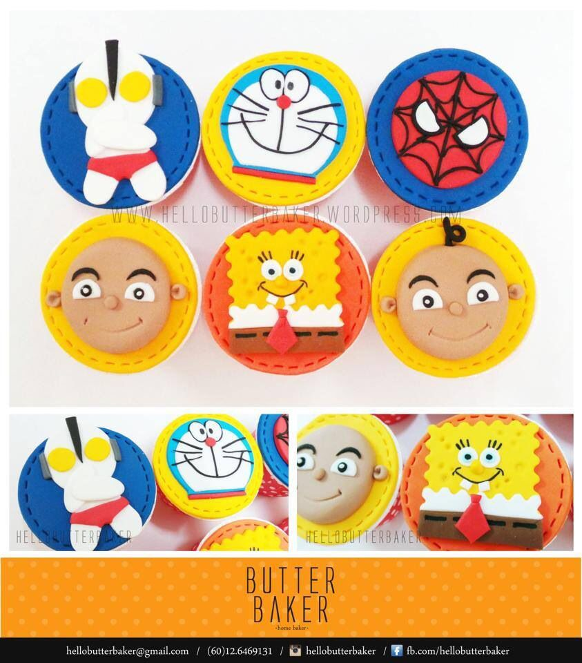 Spiderman Ultraman Spongebob Doraon And Upin Ipin Cupcake Set