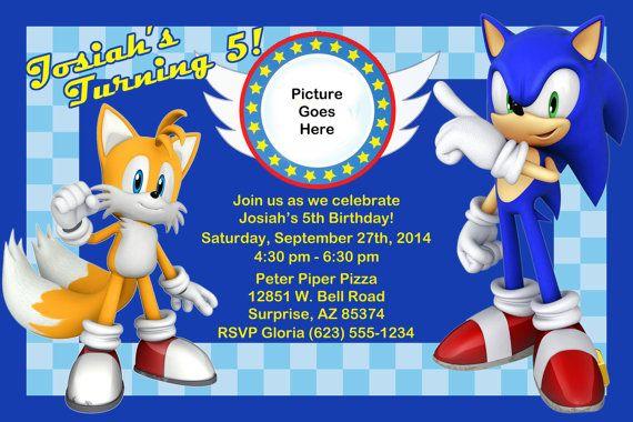 Sonic Birthday Invitation Sonic Birthday Birthday