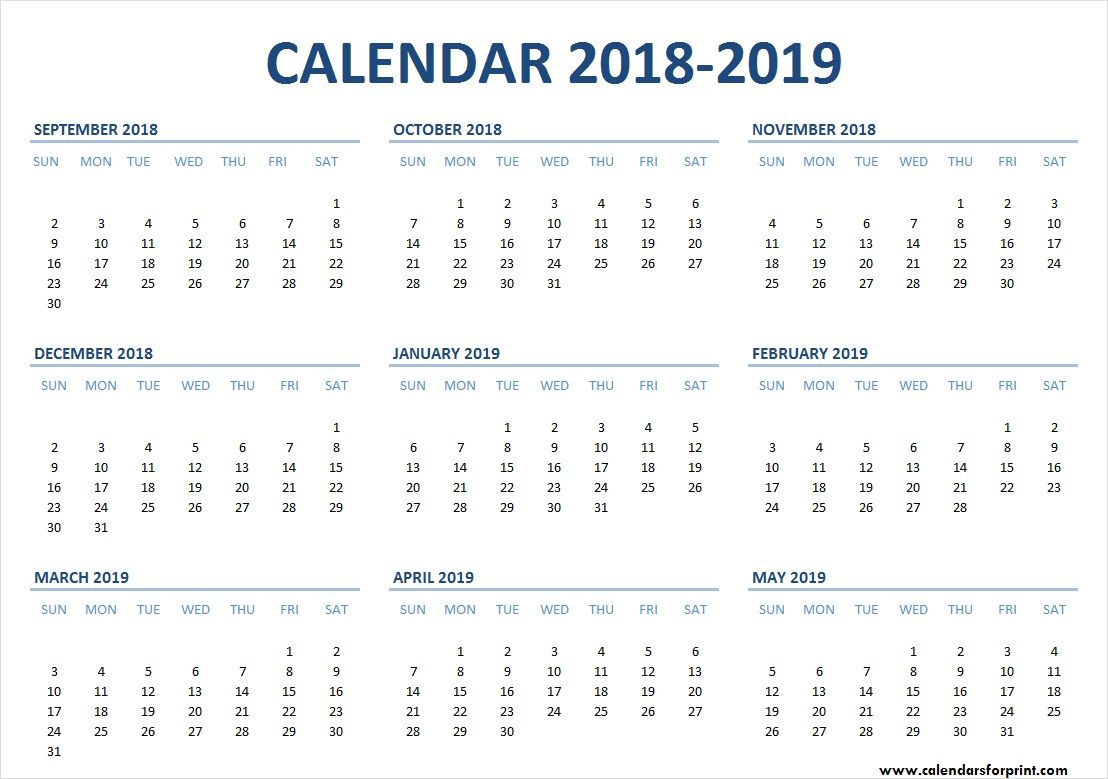 September 2018 May 2019 Calendar Templates Free Download One Month