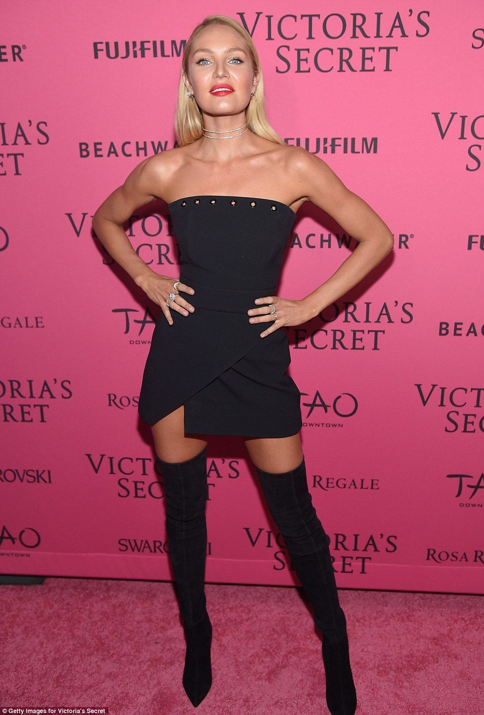 Black dress victoria secret - Back In Black Candice Swanepoel Sported A Strapless Black Dress With Thigh High Suede