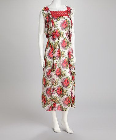 Take a look at this Ecru Floral Ruffle Maxi Dress by Young Threads on #zulily today!