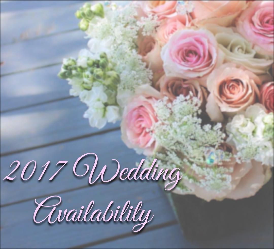 "2017 is here! Our weddings and consultations with new brides are in full swing!  Here is our current 2017 wedding availability from April-December (CLICK ""see more"" for entire list below): NOTE: This list is NOT reflective of any inquiries about dates or brides who have come in and not yet booked with us. This list contains ONLY the brides who have booked a wedding with us. The available dates will quickly change based on new brides booking and potential vacation schedules. 2018 dates are…"