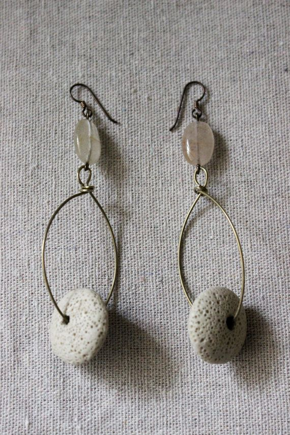 Lava bead earrings, minimalist agate and large lava disk beads, hypoallergenic Lava and quartz earrings by Stars on Mars Jewelry Co     https://www.etsy.com/listing/181234231/lava-bead-earrings-minimalist-agate-and?ref=shop_home_active_4