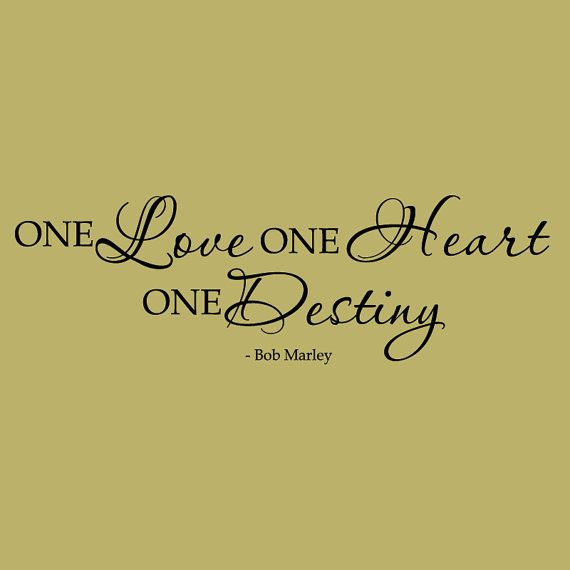 Wall Decal Bob Marley One Love One Heart Vinyl by WallStickums ...
