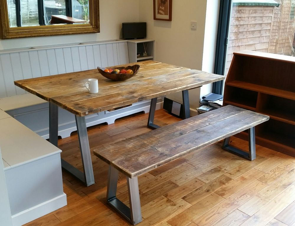 6ft Style Dining Table Steel Base Bespoke Reclaimed Wood In Home