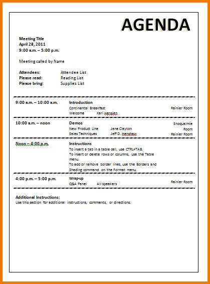 sample agenda for staff meeting