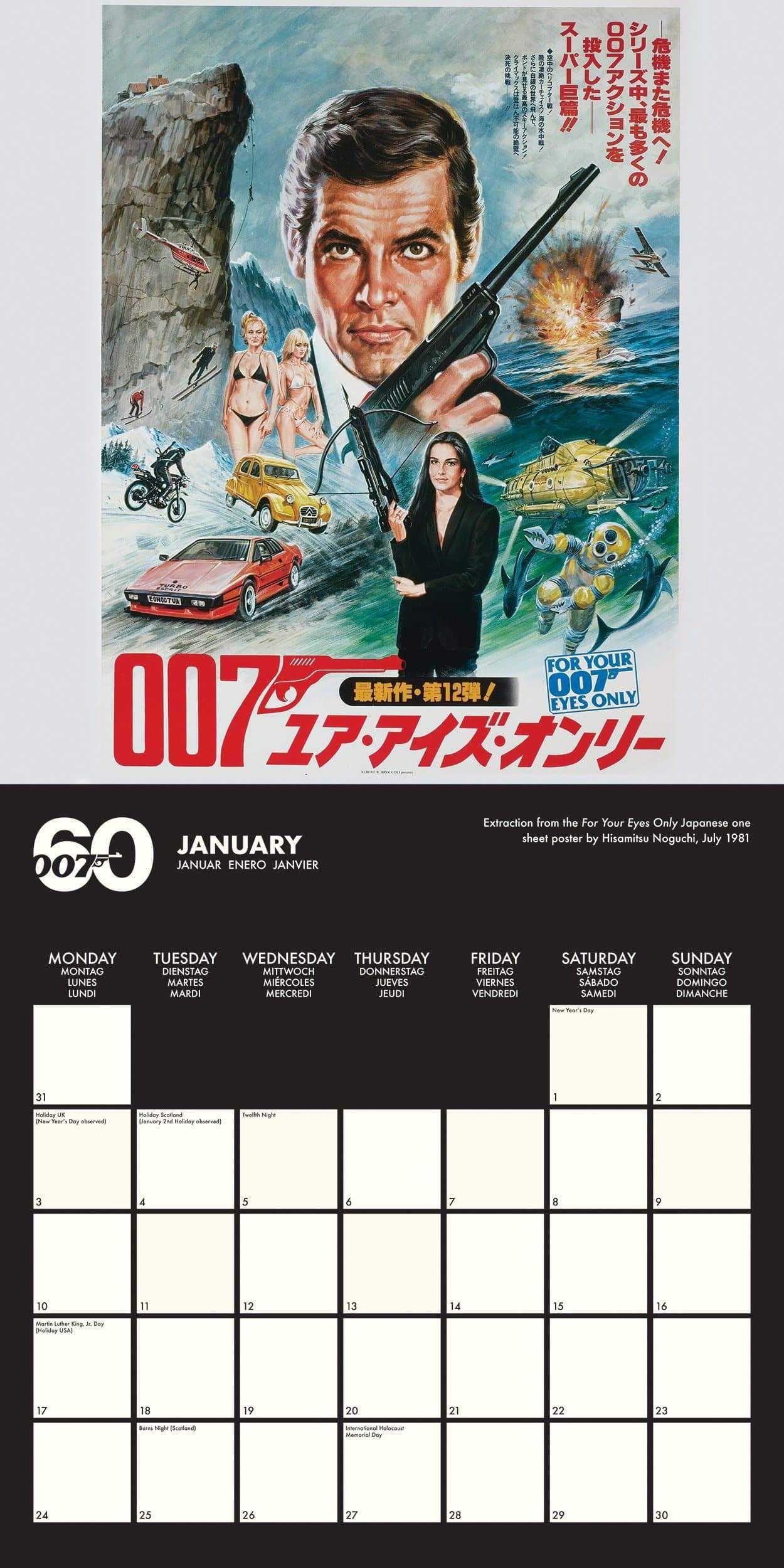 James Bond 2022 Calendar - 60th Anniversary Edition (Pre-order)