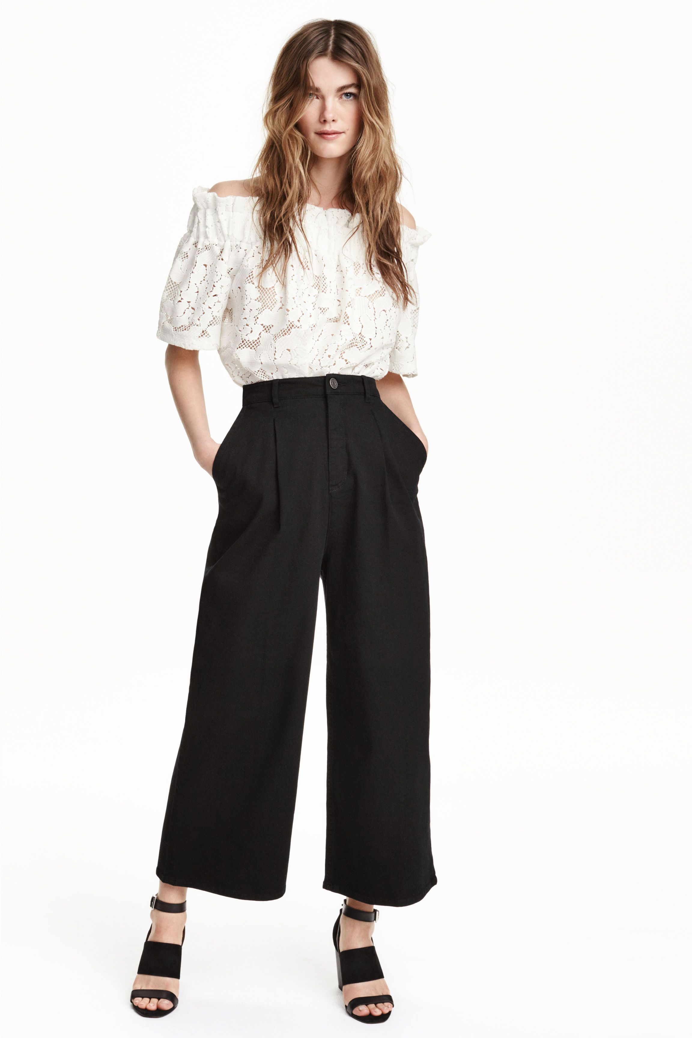 Pantalón ancho de sarga - Negro - MUJER | H&M ES