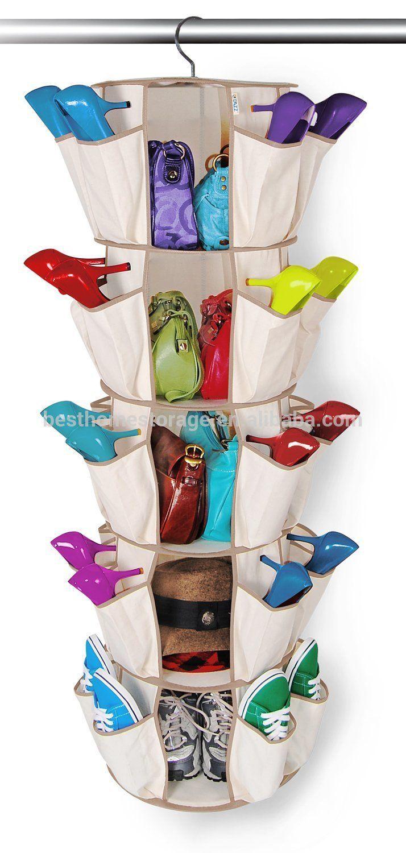 Multifuctional Round Foldable Nonwoven Hanging Closet Shoe Rack Organizer Wholesale Organizador De Calcado Armazenamento De Sapatos Solucoes De Armazenamento