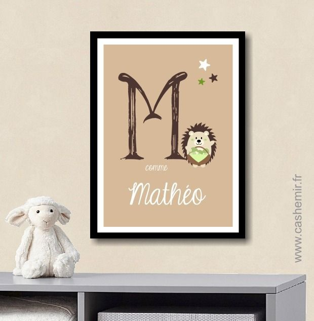 Affiche Prénom Lettre bébé enfant personnalisée, plaque de porte ...