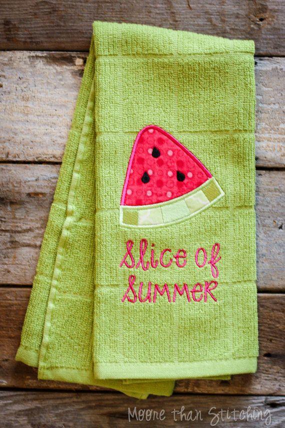 Slice Of Summer Watermelon Kitchen Towel By Moorethanstitching Rhpinterest: Summer Kitchen Towels At Home Improvement Advice