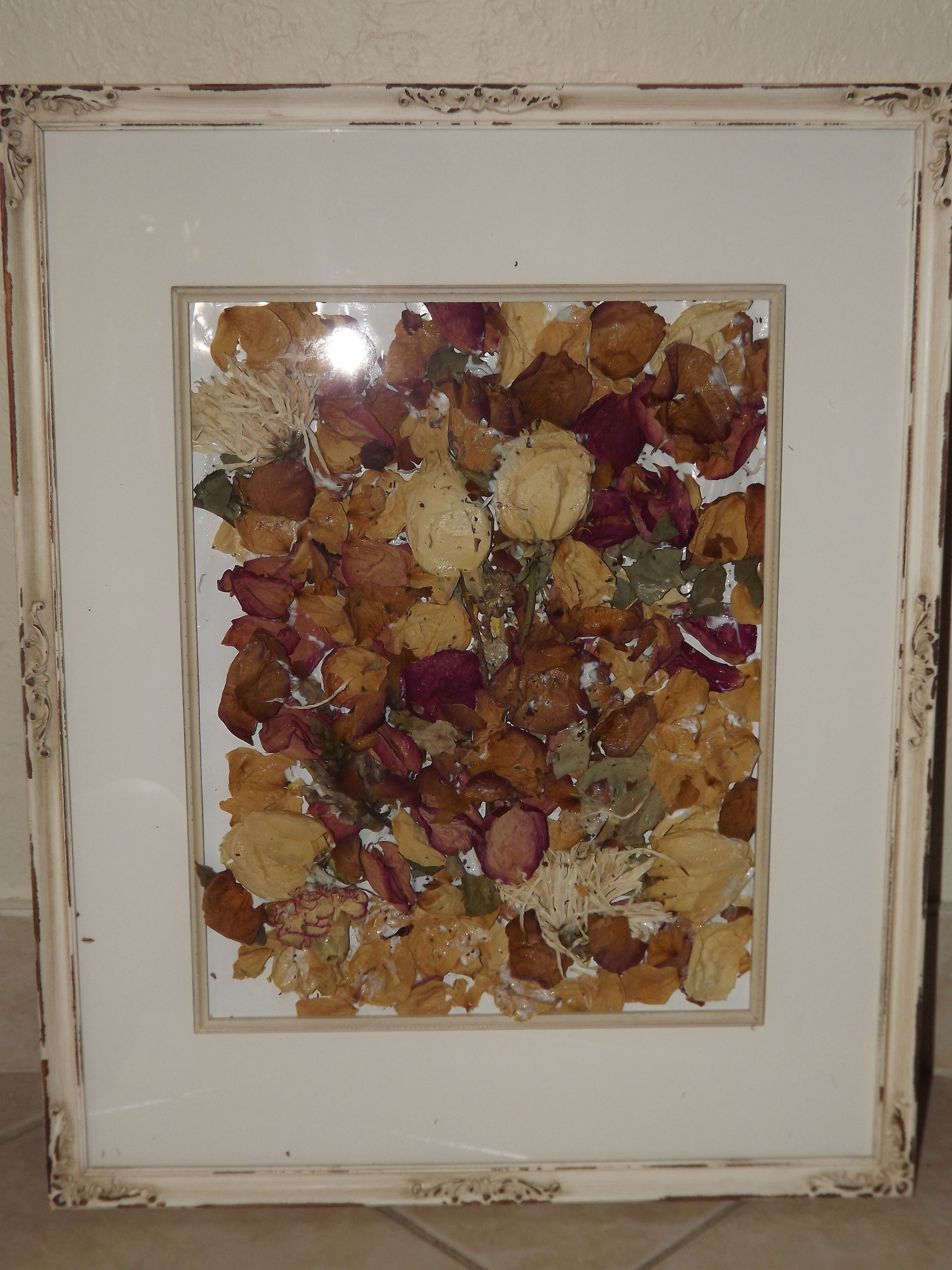 I made this with the dried flowers from my fathers memorial as a use dried flowers from a loved ones funeral to make this beautiful memorial izmirmasajfo Images