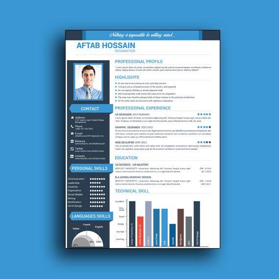 Custom Resume Template, Word Resume Template, Resume Template