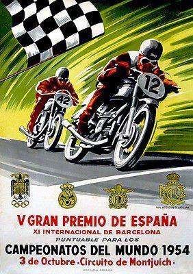 1954 Spanish Grand Prix Motorcycle Race Promotional Advertising