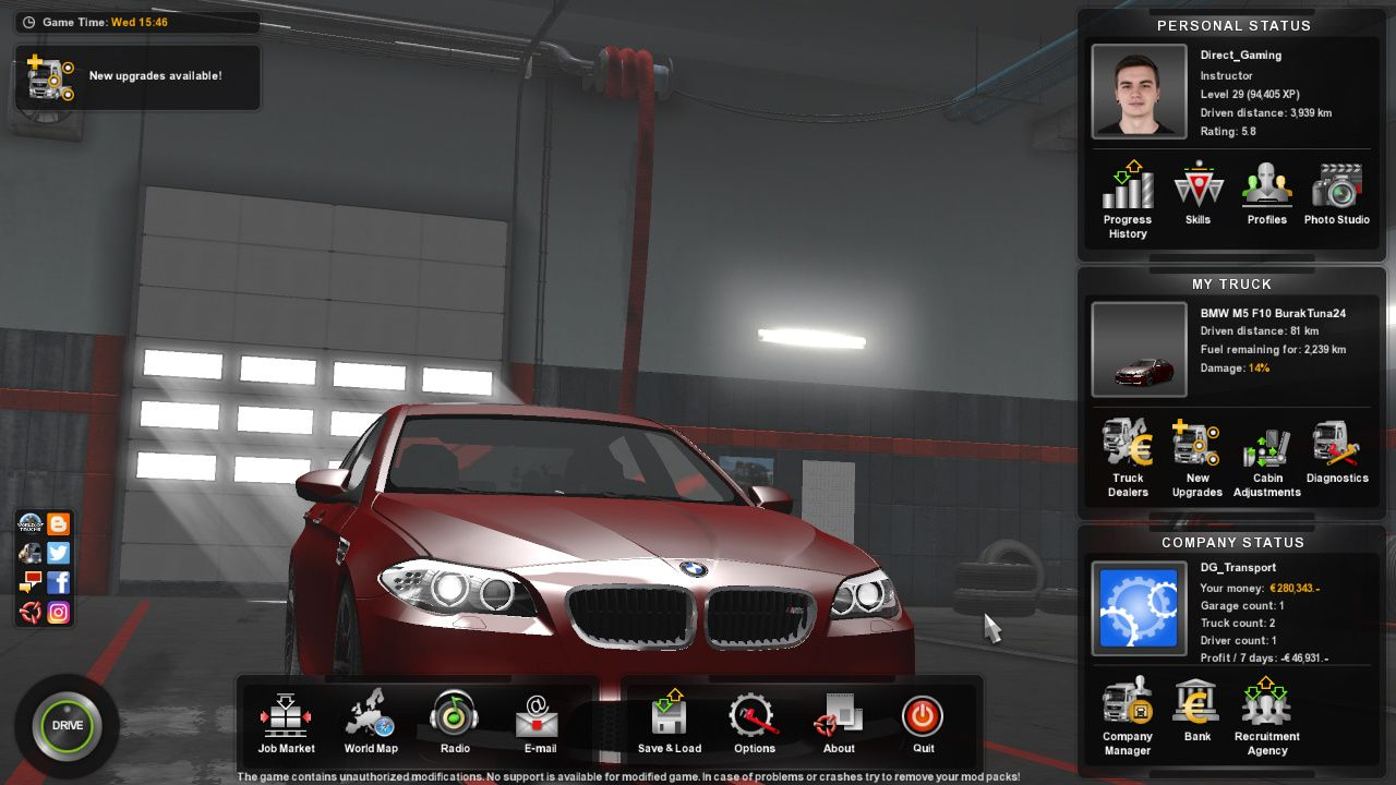 Testing Bmw M5 F10 Car Mod In Euro Truck Simulator 2 Patch 1 31