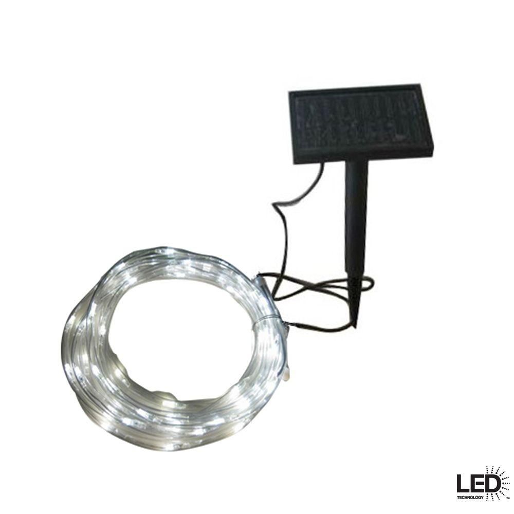 Led Rope Lights Home Depot Amusing Hampton Bay 16 Ftsolar Integrated Led Clear Rope Light With Solar Decorating Design