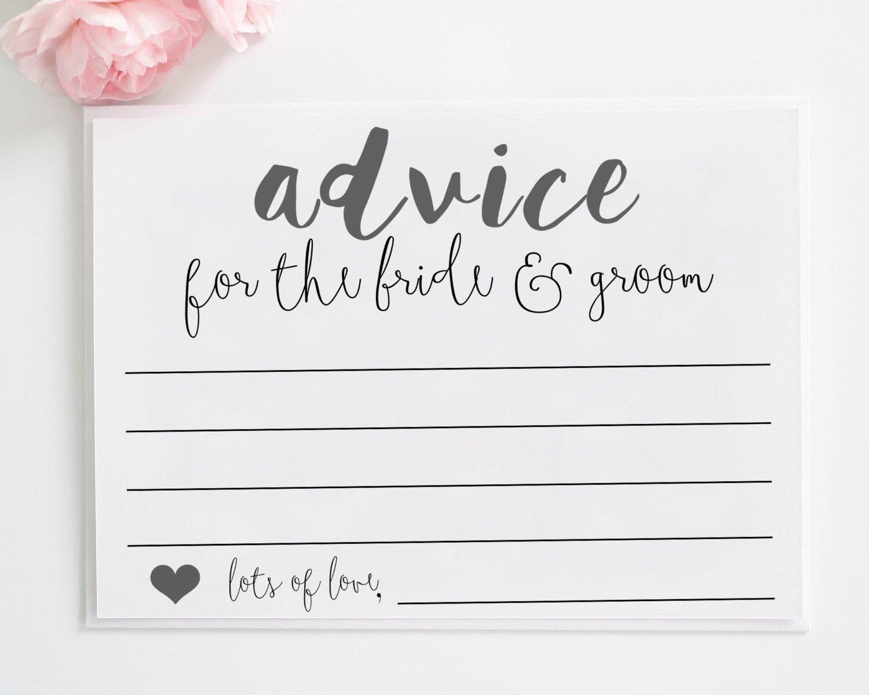 Wedding Advice Cards Printable Advice For The Bride And Groom Advice For The N Wedding Advice Cards Printable Baby Shower Advice Bridal Shower Advice Cards