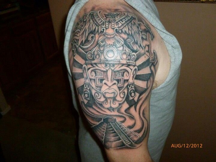 ae3a07013 Aztec warrior and pyramid version 1 Aztec Warrior, Black And Grey Tattoos,  Black And