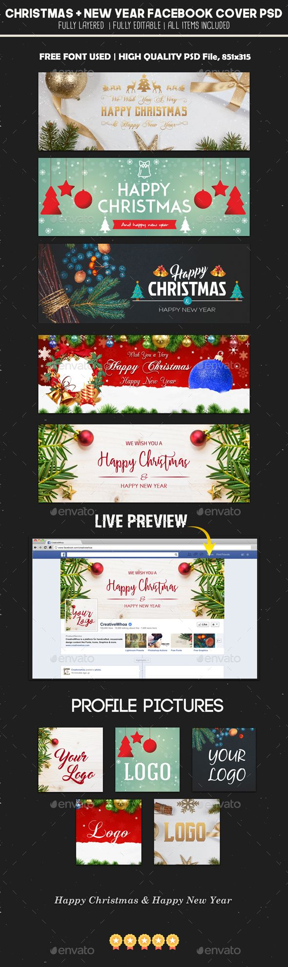 5 christmas and new year fb covers timeline covers facebook 5 christmas new year facebook covers template psd baditri Gallery