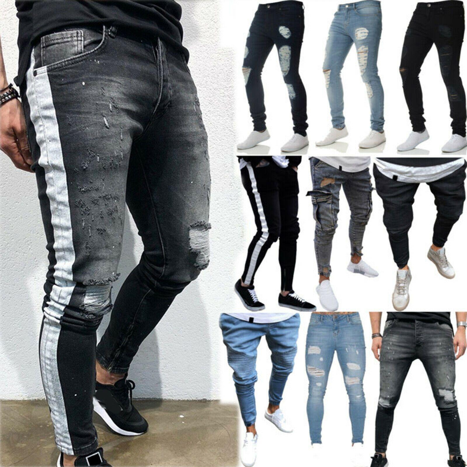 Men/'s Ripped Biker Jeans Skinny Destroyed Frayed Slim Fit Denim Pants Trousers