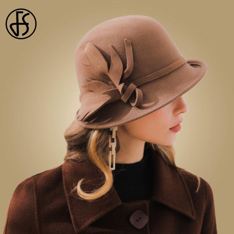 FS Elegant Black Hats Autumn Winter 2019 Women Wool Wide Brim Fedora Dome  Felt Flowers Trilby c282a8c4c4b1