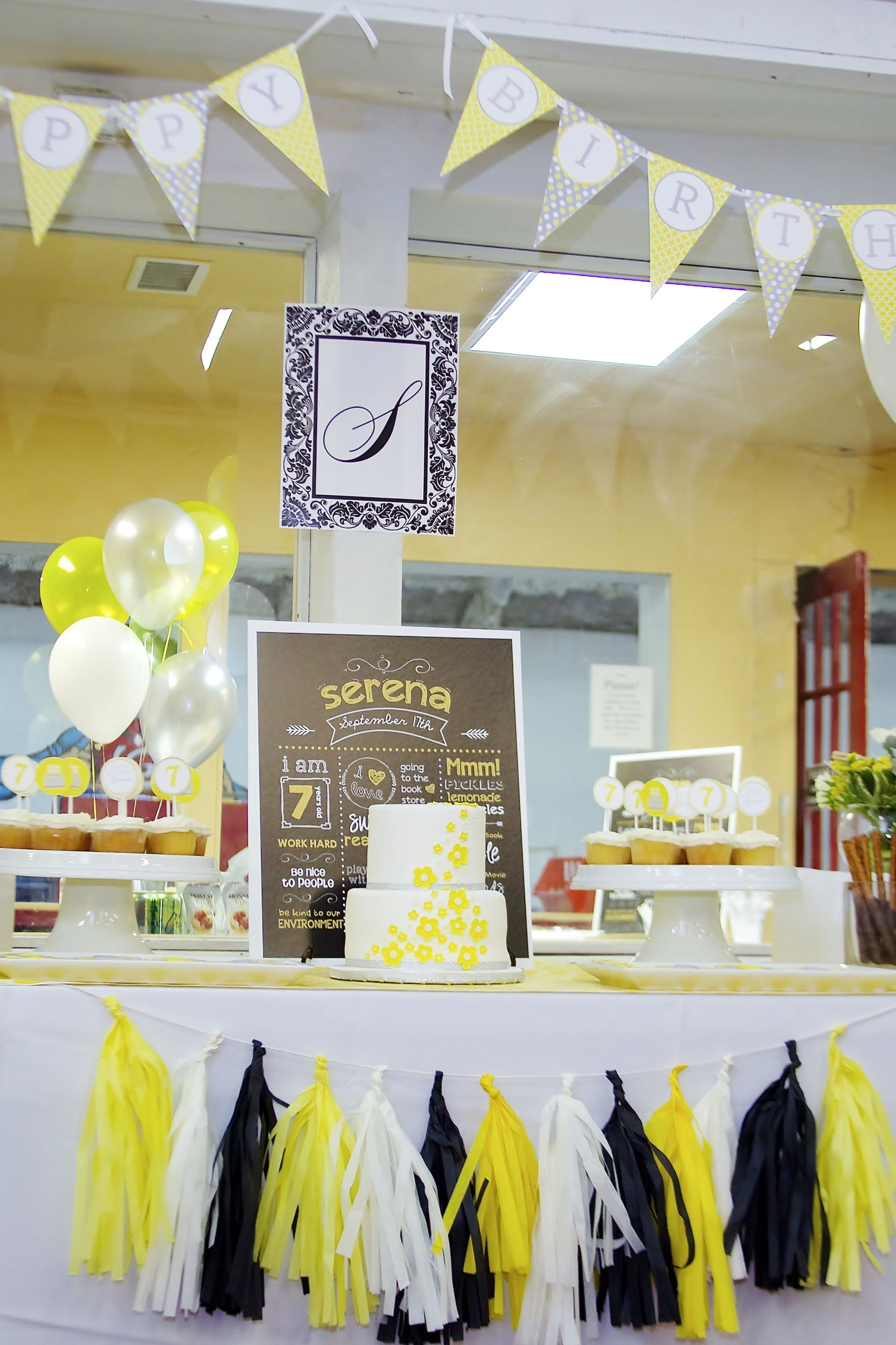 Modern Yellow And White Birthday Party Theme Yellow And White
